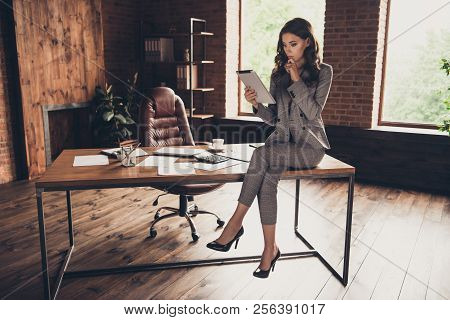 Attractive Elegant Stylish Beautiful Classic Trendy Business Shark, Lady In Grey Jacket, Suit And Hi
