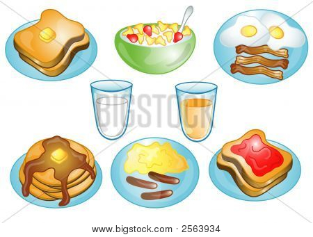 Breakfast Foods Icons Or Symbols