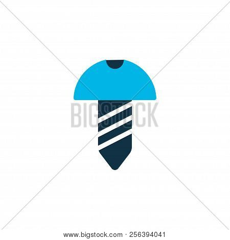 Screw Icon Colored Symbol. Premium Quality Isolated Bolt Element In Trendy Style.