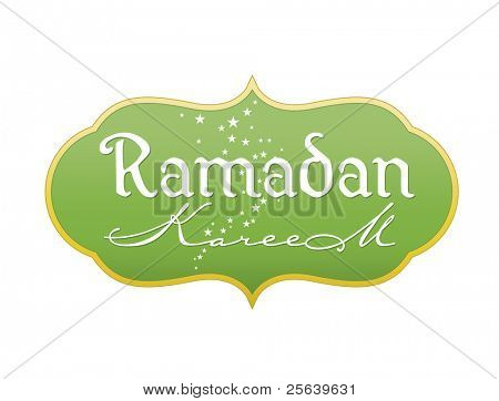 'Ramadan Kareem' calligraphic tittle in English script.