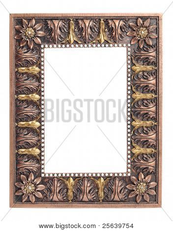 An empty, antique looking photo frame.