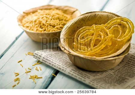 'Jalebi'- an indian sweet in a natural cup.