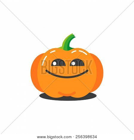 Color Illustration Of A Simple Cartoon Funny Pumpkin For Halloween Which Is Very Tricky
