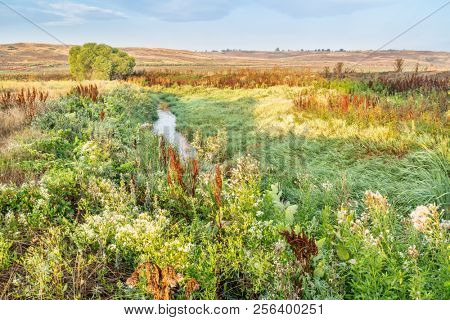 irrigation ditch (Eaton Ditch) in northern Colorado, late summer scenery
