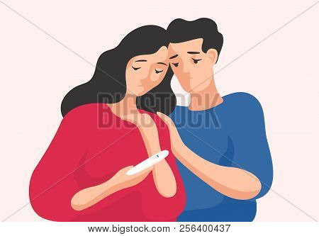 Sad Man And Woman Standing Together And Looking At Pregnancy Test Showing One Line. Infertile Couple