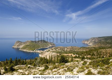 View Of Peninsula And The Village Of Assos On The Greek Island Of Kefalonia
