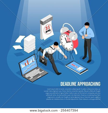 Deadline approaching concept with alarm clock calendar laptop and hurrying men 3d isometric vector illustration poster