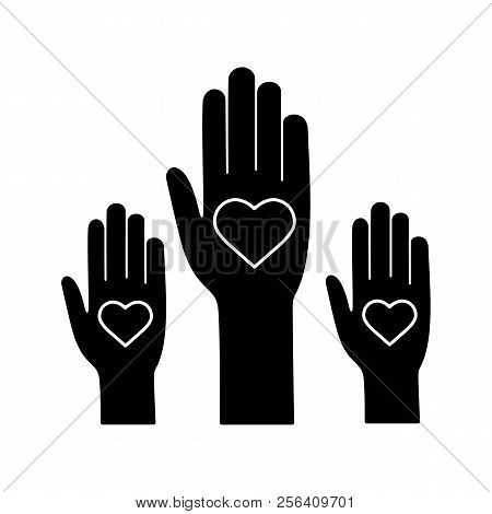 Unity In Diversity Glyph Icon. Silhouette Symbol. No To Racism. Volunteers. Helping Hands. Voting. C