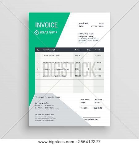 Creative Green Invoice Template Design Vector Illustration