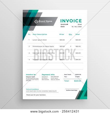 Invoice Template Design In Abstract Style Vector