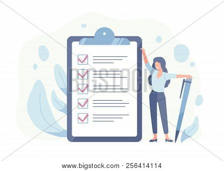 Happy Woman Standing Beside Giant Check List And Holding Pen. Concept Of Successful Completion Of Ta