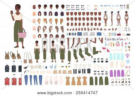 African American Traveler Woman Animation Kit. Collection Of Female Tourist Body Parts, Gestures, To