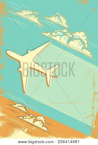 Cloudy Blue Sky Retro Background With Airplane For Text