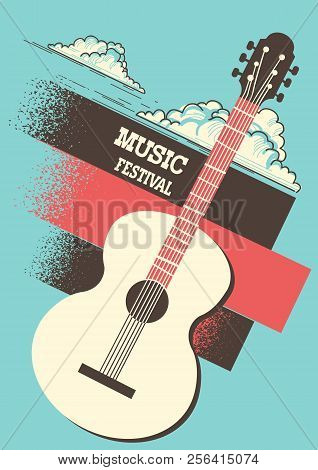 Music Poster Background With Acoustic Guitar And Retro Decoration
