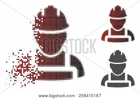 Worker Icon In Sparkle, Pixelated Halftone And Undamaged Whole Versions. Particles Are Composed Into