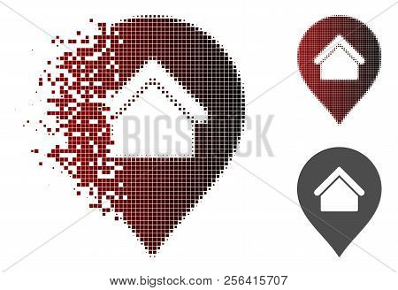 Residence Marker Icon In Fractured, Pixelated Halftone And Undamaged Entire Versions. Fragments Are