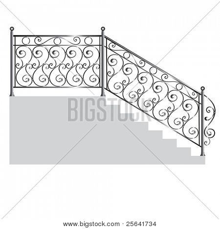 iron handrail isolated on white background