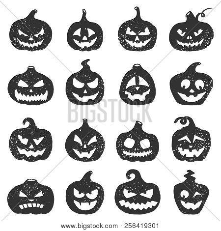 Hand Drawn Halloween Pumpkins. Pumpkin Black Grunge Silhouette To Halloween Holiday Illustration. Ja