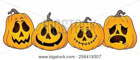 Halloween Pumpkins Thematics Image 1 - Eps10 Vector Picture Illustration.