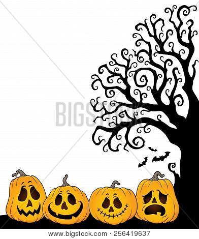 Halloween Tree Half Silhouette Theme 2 - Eps10 Vector Picture Illustration.