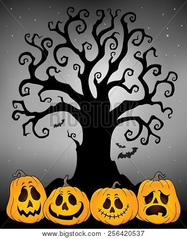 Halloween Tree Silhouette Topic 4 - Eps10 Vector Picture Illustration.