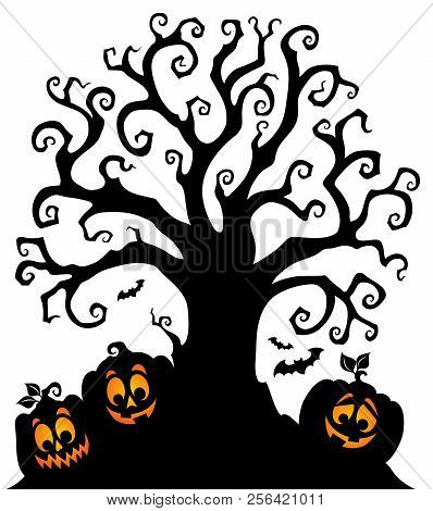 Halloween Tree Silhouette Topic 7 - Eps10 Vector Picture Illustration.