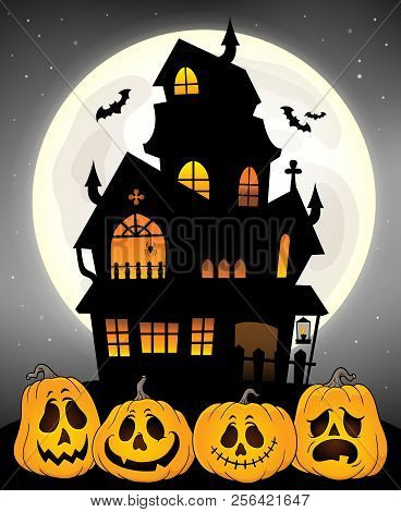 Haunted House Silhouette Theme Image 8 - Eps10 Vector Picture Illustration.