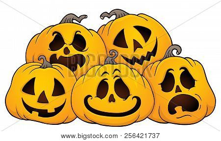 Pile Of Halloween Pumpkins Theme 1 - Eps10 Vector Picture Illustration.