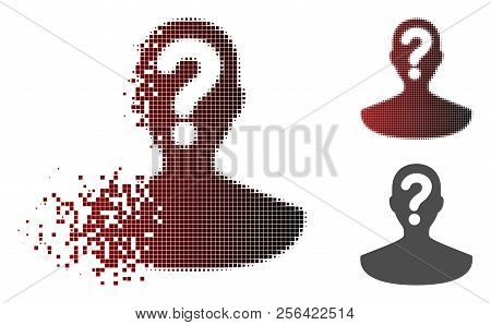 Unknown Person Icon In Fractured, Dotted Halftone And Undamaged Whole Versions. Pixels Are Combined