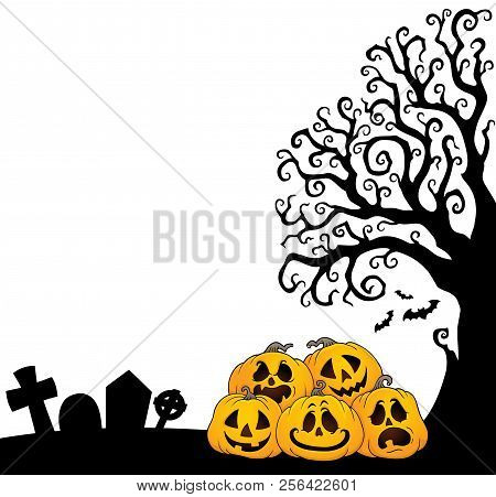 Pile Of Halloween Pumpkins Theme 7 - Eps10 Vector Picture Illustration.