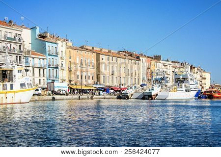 Sete, France - September 03, 2014: Colorful Houses In Sete - Fascinating Small Town On The French Me
