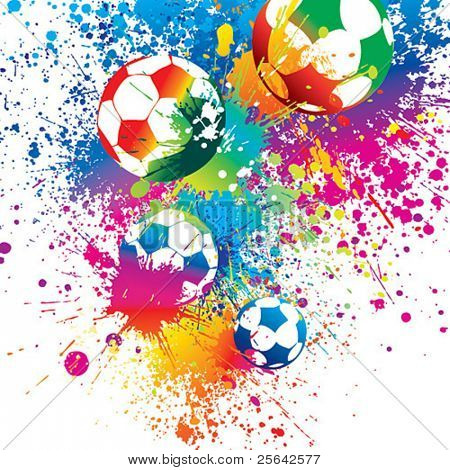 The colorful footballs on a white background. Vector illustration.