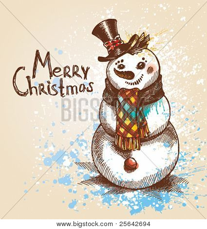 Christmas. Snowman. A sketch made by a pen with spots and sprays on a beige background. Vector illustration.