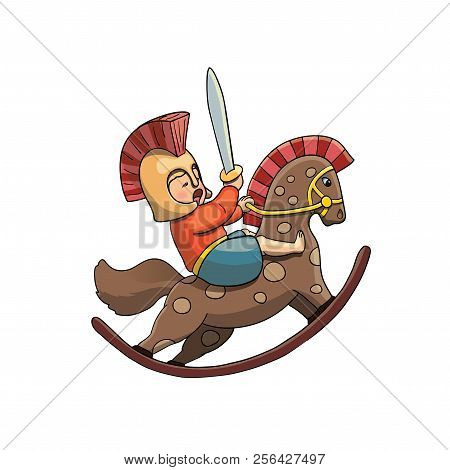 Spartan Kid Warrior On Rocking Horse In Helmet With Spartan Sward. Vector Illustration Isolated On W