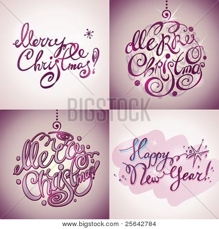 Christmas Card. Merry Christmas and Happy New Year lettering by four styles of a writing on a violet background. Vector illustration.