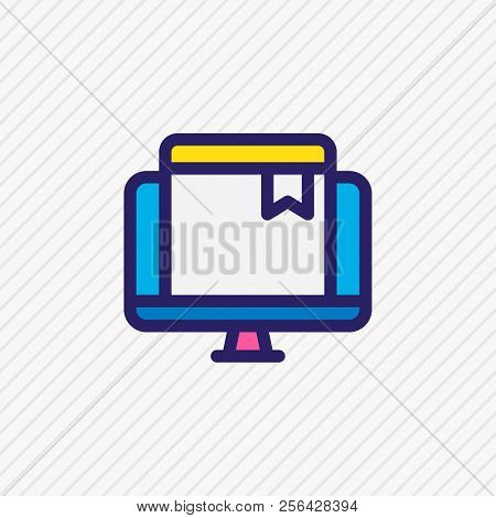 Vector Illustration Of Online Bookmark Icon Colored Line. Beautiful Book Element Also Can Be Used As