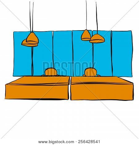 Two Office Desk With Hanging Lamps. Hand-drawn Vector Sketch. Business Concept Design.