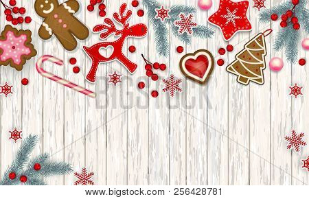 Abstract Christmas Border, Stylized Scandinavian Decorations, Branches Of Christmas Tree, Christmas