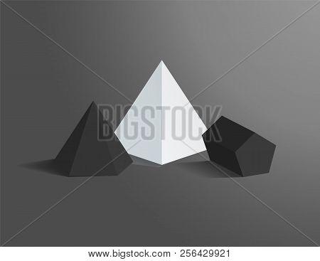 Hexagonal Pyramid Pentagonal Prism Figures Set Vector Illustration Tetrahedron, Dark And Bright Pris
