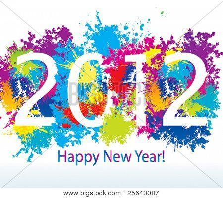 New Year's kaart 2012 met kleurrijke laat vallen en spuit op een witte achtergrond. Vectorillustratie.