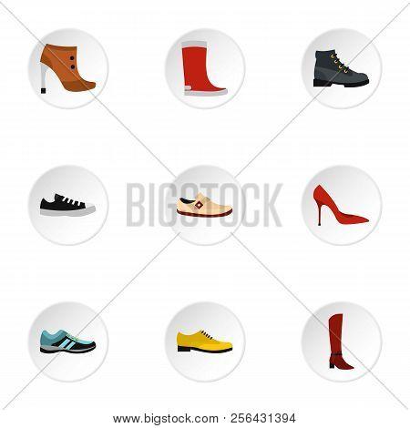 Footgear Icons Set. Flat Illustration Of 9 Footgear Icons For Web