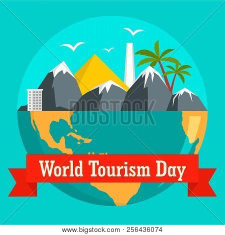 World Tourism Day Holiday Background. Flat Illustration Of World Tourism Day Holiday Vector Backgrou