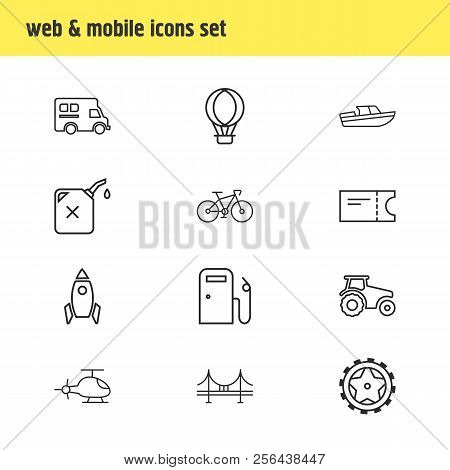 Vector Illustration Of 12 Transportation Icons Line Style. Editable Set Of Tractor, Tyres, Campervan