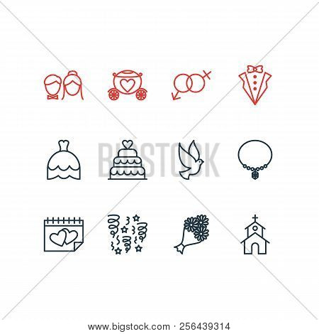 Vector Illustration Of 12 Marriage Icons Line Style. Editable Set Of Church, Marriage Day, Posy And