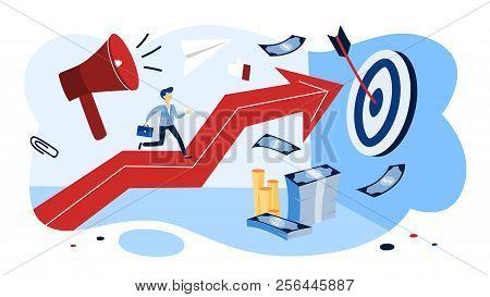 Motivation Concept. Businessman Running Up The Arrow.