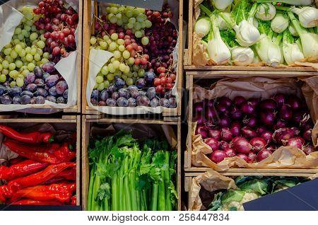 Fresh Vegetables In Wooden Crate In Super Market