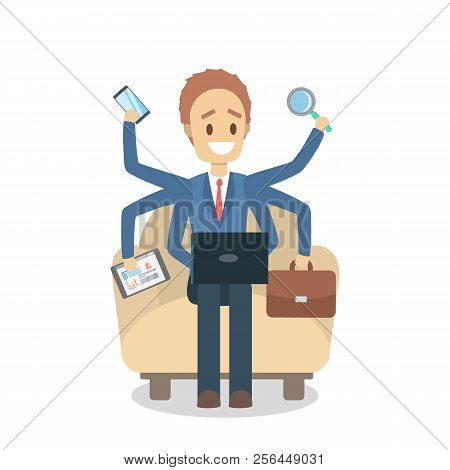 Multitasking Businessman. Effective And Talented Employee And Workaholic.