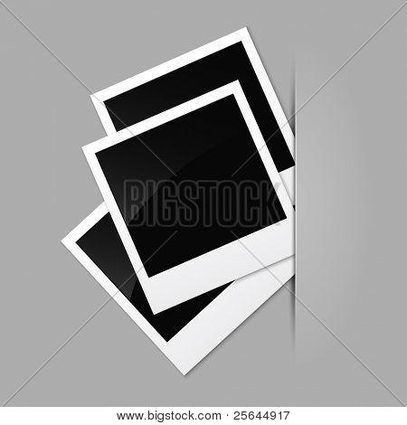 Fotos em uma superfície cinza. eps10