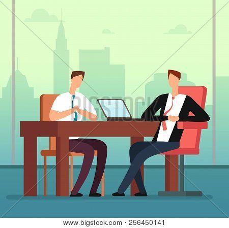 Employee Man And Interviewer Boss Meeting In Office. Job Interview And Recruitment Vector Cartoon Co