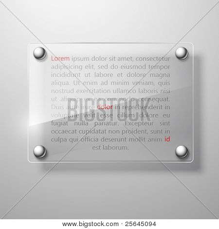 abstract glass plate on white wall